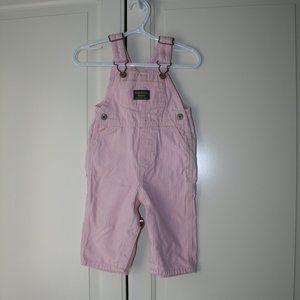 Baby girl OshKosh pink striped overalls 9 months
